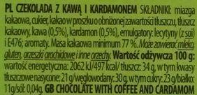 Terravita, Cocoacara 77 cacao coffee and cardamon dark chocolate, ciemna gorzka czekolada z kawą i przyprawą korzenną: kardamonem, skład i wartości odżywcze, copyright Olga Kublik