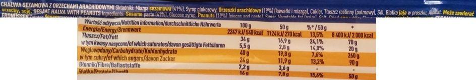 Wedel, Chałwa królewska sezamowa z orzechami, skład i wartości odżywcze, copyright Olga Kublik
