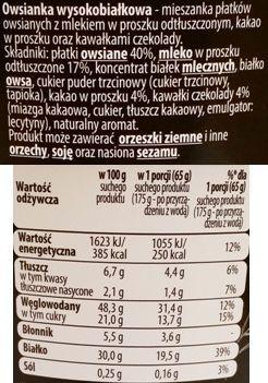 Bruggen, Natura Food Owsianka proteinowa z czekoladą, deser z płatkami owsianymi z Biedronki, skład i wartości odżywcze, copyright Olga Kublik
