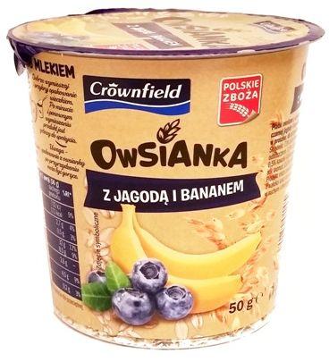 Crownfield, Owsianka z jagoda i bananem, deser owsiany z Lidla, copyright Olga Kublik