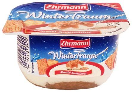 Ehrmann, WinterTraum Mandel-Spekulatius, deser mleczny aero z sosem o smaku korzennych ciasteczek Speculoos z migdałami, copyright Olga Kublik
