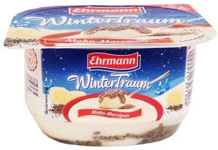 Ehrmann, WinterTraum Mohn-Marzipan, deser mleczny aero z nadzieniem o smaku maku i marcepana, copyright Olga Kublik