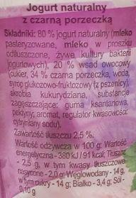 Piotr i Paweł, Jogurt naturalny z czarną porzeczką, skład i wartości odżywcze, copyright Olga Kublik