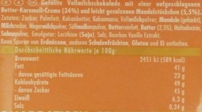 Ritter Sport, Karamell-Mousse mleczna czekolada karmelowym musem i migdałami, skład i wartości odżywcze, copyright Olga Kublik
