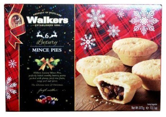 Walkers Shortbread, Luxury Mince Pies, brytyjskie babeczki z kruchego ciasta z nadzieniem z suszonych owoców i octu, ciastka świąteczne na Boże Narodzenie, copyright Olga Kublik