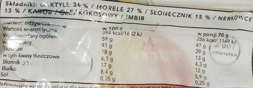 Zdrowie w Tobie, Zdrowy baton morela, nerkowce, karob, wegański raw bar, skład i wartości odżywcze, copyright Olga Kublik