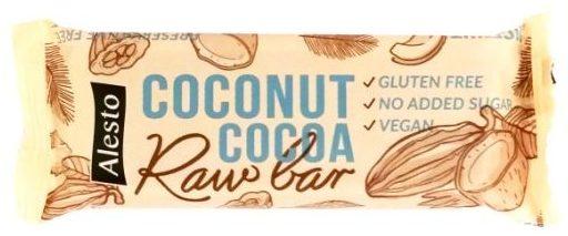 Alesto, Raw Bar Coconut Cocoa, wegański surowy baton z Lidla, puszysty czekoladowy murzynek z wiórkami kokosowymi, copyright Olga Kublik
