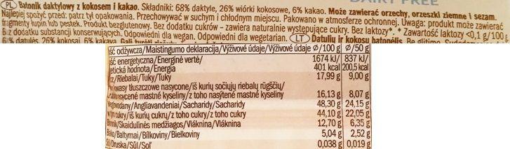 Alesto, Raw Bar Coconut Cocoa, wegański surowy baton z Lidla, puszysty czekoladowy murzynek z wiórkami kokosowymi, skład i wartości odżywcze, copyright Olga Kublik