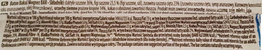 Atlanta Poland, Bakal sport Magnez Natural Bar kakao, raw bar surowy baton z daktylami, figami, żurawiną i orzechami, skład i wartości odżywcze, copyright Olga Kublik