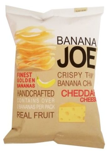 Banana Joe, Crispy Thin Banana Chips Cheddar Cheese, chipsy z bananów o smaku sera, bez glutenu, copyright Olga Kublik