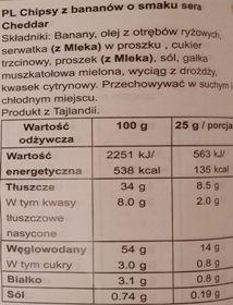 Banana Joe, Crispy Thin Banana Chips Cheddar Cheese, chipsy z bananów o smaku sera, bez glutenu, skład i wartości odżywcze, copyright Olga Kublik