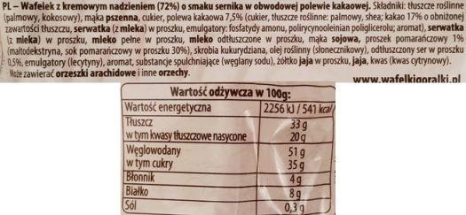 IDC Polonia, wafle Góralki o smaku sernika, skład i wartości odżywcze, copyright Olga Kublik