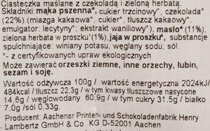 Lambertz, Bio Cookies Matcha, bio ciasteczka o smaku zielonej herbaty z polewą z ciemnej czekolady i cukrową posypką, skład i wartości odżywcze, copyright Olga Kublik