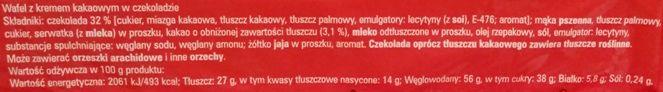 Magnolia, Krasnal Pomagajek z Wrocławia Wafelek kakaowy w czekoladzie, skład i wartości odżywcze, copyright Olga Kublik