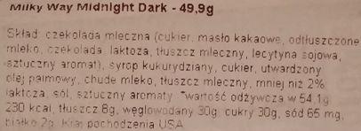 Mars, Milky Way Midnight Dark, amerykański baton z karmelem i waniliowym nugatem w ciemnej czekoladzie, skład i wartości odżywcze, copyright Olga Kublik