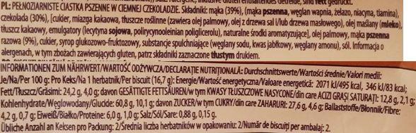 McVities, Digestive 2 Dark Chocolate Wheatmeal Biscuits, zbożowe herbatniki z ciemną czekoladą, brytyjskie ciasteczka, skład i wartości odżywcze, copyright Olga Kublik