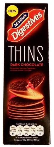 McVities, Digestives Thins Dark Chocolate, brytyjskie herbatniki zbożowe z ciemną czekoladą, kruche ciasteczka z polewą, copyright Olga Kublik
