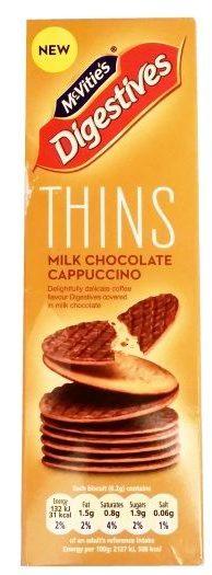 McVities, Digestives Thins Milk Chocolate Cappuccino, brytyjskie ciasteczka z polewą kawową, herbatniki zbożowe z mleczną czekoladą, copyright Olga Kublik