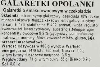 Odra, Opolanki - galaretki o smaku owocowym: malinowym, cytrynowym i pomarańczowym, w ciemnej czekoladzie, skład i wartości odżywcze, copyright Olga Kublik