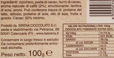 Sirena Cioccolato, Cortes Cioccolato Fondente Extra 50 cacao al Caffe, ciemna czekolada kawowa, skład i wartości odżywcze, copyright Olga Kublik