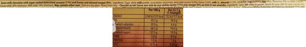 Toblerone, Crispy Coconut, mleczna czekolada z nugatem, miodem i prażonymi wiórkami kokosowymi, skład i wartości odżywcze, copyright Olga Kublik