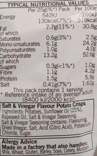 Walkers Snack Foods, Walkers Salt and Vinegar Frito-Lay, Lay's, chipsy ziemniaczane z solą i octem, skład i wartości odżywcze, copyright Olga Kublik