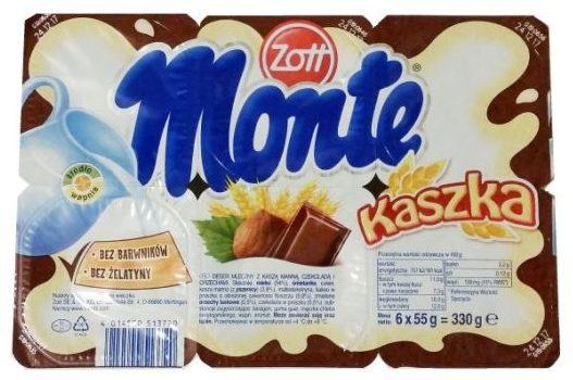 Zott, Monte Kaszka, mleczny deser dla dzieci o smaku orzechowym i czekoladowym z kaszą manną, copyright Olga Kublik