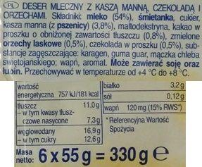 Zott, Monte Kaszka, mleczny deser dla dzieci o smaku orzechowym i czekoladowym z kaszą manną, skład i wartości odżywcze, copyright Olga Kublik