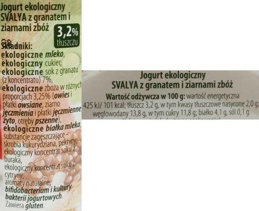 AB Pieno zvaigzdes, Svalya Jogurt ekologiczny z granatem i ziarnami zbóż, skład i wartości odżywcze, copyright Olga Kublik