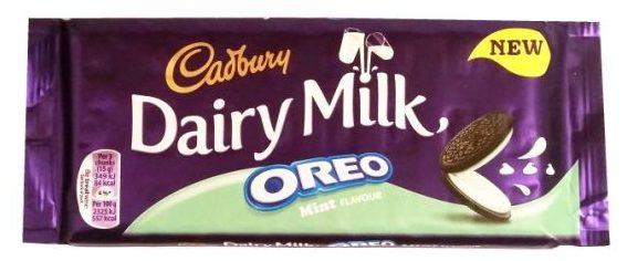 Cadbury, Dairy Milk Oreo Mint Flavour, mleczna czekolada z nadzieniem: miętowym kremem i kakaowymi ciasteczkami, tabliczka czekolady z Wielkiej Brytanii, copyright Olga Kublik