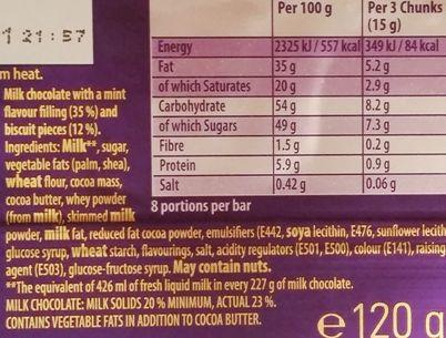 Cadbury, Dairy Milk Oreo Mint Flavour, mleczna czekolada z nadzieniem: miętowym kremem i kakaowymi ciasteczkami, tabliczka czekolady z Wielkiej Brytanii, skład i wartości odżywcze, copyright Olga Kublik