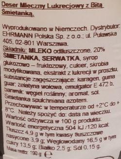 Ehrmann, Grand Dessert Lakritz, gęsty pudding budyń z bitą śmietaną o smaku lukrecji anyżu, skład i wartości odżywcze, copyright Olga Kublik