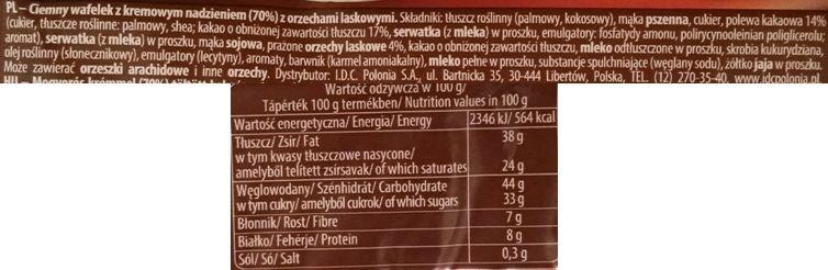 IDC Polonia, Lusette smak Orzechowy, kruchy batony wafle z kremem orzechowym, skład i wartości odżywcze, copyright Olga Kublik