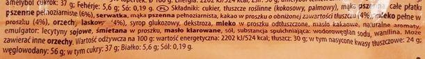 Manner, Snack Milch Haselnuss Vollkornflakes, austriacki kruchy wafelek z kremem orzechowym i chrupkami kukurydzianymi, kremem mlecznym oraz polewą czekoladową, skład i wartości odżywcze, copyright Olga Kublik