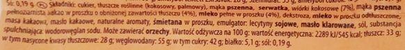 Manner, Snack Milch Schoko Cocos, kruchy wafelek z kremem mlecznym i kremem czekoladowym z wiórkami kokosowymi oblany czekoladą, skład i wartości odżywcze, copyright Olga Kublik