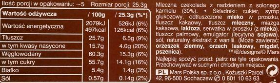 Mars, Galaxy Caramel Collection Salted Caramel, mleczna czekolada ze słonym karmelem Dove, skład i wartości odżywcze, copyright Olga Kublik