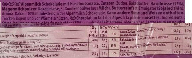 Milka, Noisette, mleczna czekolada nugtowa gianduja z orzechami laskowymi, skład i wartości odżywcze, copyright Olga Kublik