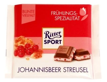 Ritter Sport, Johannisbeer Streusel, sezonowa mleczna czekolada z nadzieniem jogurtowym z czerwoną porzeczką i kruszonką, copyright Olga Kublik