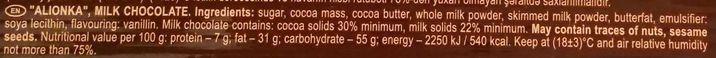 Roshen, Olenka, ukraińska mleczna czekolada, skład i wartości odżywcze, copyright Olga Kublik