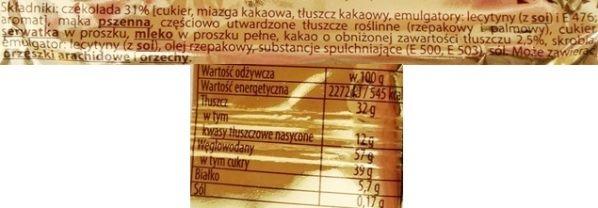 Skawa, wafelek Elitesse De luxe, klasyczny kultowy polski wafelek z kremem kakaowym oblany czekoladą, skład i wartości odżywcze, copyright Olga Kublik