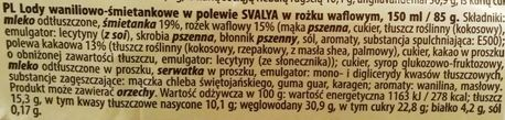 AB Pieno zvaigzdes, Lody śmietankowe Svalya Waniliowe, rożek lodowy z Biedronki waniliowy z polewą czekoladową, skład i wartości odżywcze, copyright Olga Kublik