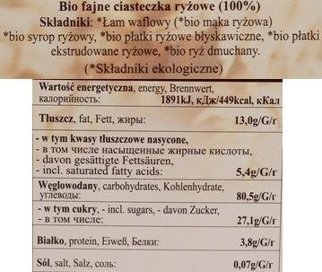 Ania, Fun cookies BiO fajne ciasteczka Ryżowe, ekologiczne wegańskie ciastka z łamu waflowego, preparowanego ryżu i syropu, skład i wartości odżywcze, copyright Olga Kublik