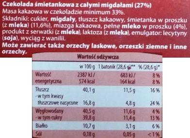 Chateau, Śmietankowa z Migdałami, mleczna czekolada z bakaliami z Aldiego, skład i wartości odżywcze, copyright Olga Kublik