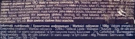 Heidi, ChocoVenture Crispy Milk, kruchy batonik z chrupkami zbożowymi, wafel kakaowy w mlecznej czekoladzie, skład i wartości odżywcze, copyright Olga Kublik