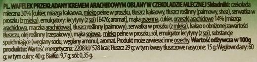 Mieszko, Michaszki wafel mocno orzechowy, batonik w czekoladzie, skład i wartości odżywcze, copyright Olga Kublik