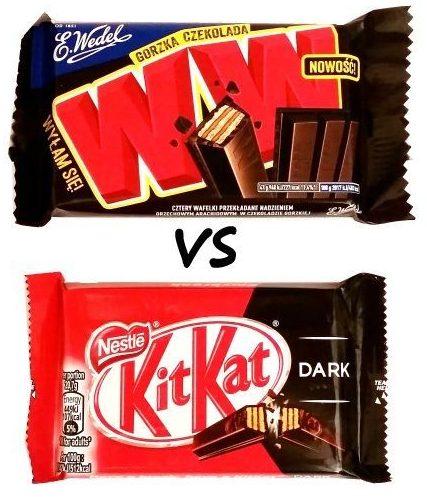 Porównanie batonów w ciemnej czekoladzie: Nestle, Kit Kat Dark vs Wedel, WW Gorzka czekolada, wafle kakaowe w polewie deserowej, copyright Olga Kublik