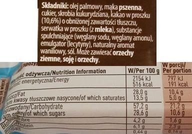 Nestle, Princessa Brownie, kruche wafle z nadzieniem o smaku czekoladowego ciasta, skład i wartości odżywcze, copyright Olga Kublik