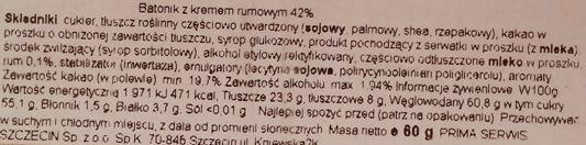 ROM, ROM Cel Dublu, baton czekoladowy z gęstym nadzieniem kremem rumowym, skład i wartości odżywcze, copyright Olga Kublik