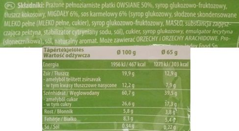 Schwartauer Werke, Corny Oatpower Flapjack almond - caramel, baton owsiany o smaku karmelu z migdałami, skład i wartości odżywcze, copyright Olga Kublik