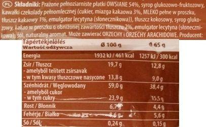 Schwartauer Werke, Corny Oatpower Flapjack cocoa, baton owsiany o smaku kakaowym, skład i wartości odżywcze, copyright Olga Kublik